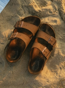 pair of brown footbed sandals