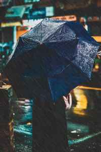 photo of person holding an umbrella