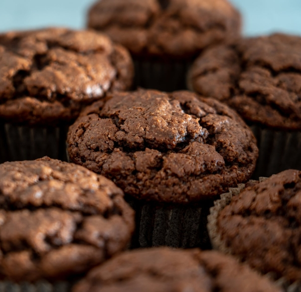 chocolate cupcakes in close up view