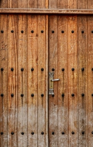 wooden door of a bricked wall