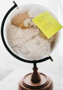 black and brown desk globe